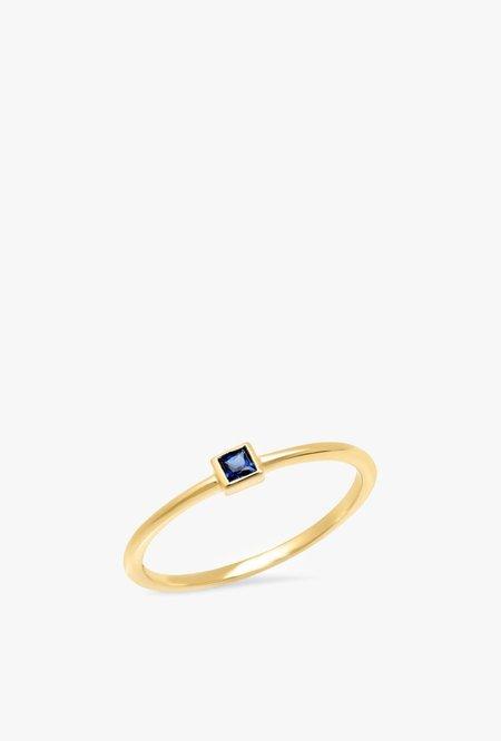 Eriness Blue Sapphire Princess Cut Pinky Ring