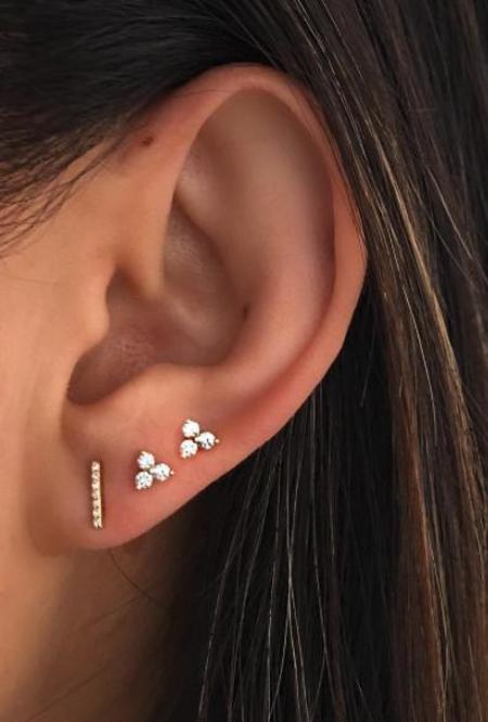 EF Collection Diamond Bar Stud Single Earring