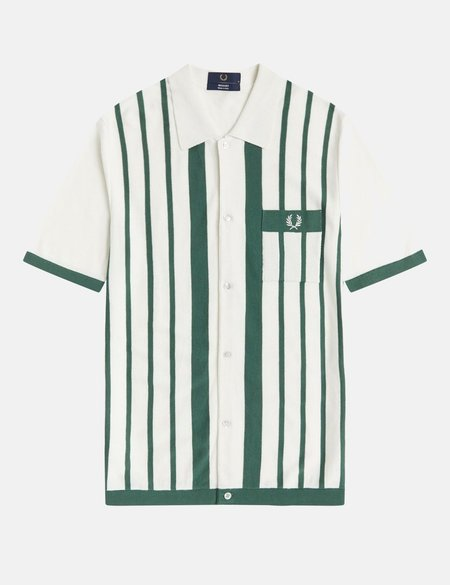 Fred Perry Reissues Striped Button Through Knitted Polo Shirt - Snow White