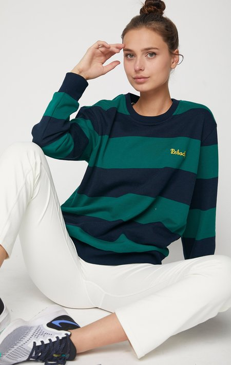 Rebody Embroidered  Logo Rugby Striped Sweatshirt - Navy/Green