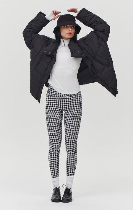 rebody Hybrid Fleece Houndstooth Print High Waist Leggings - White/Black