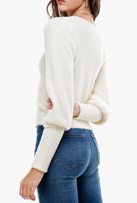 Azalea Kayley Ruched Angora Sweater - WHITE