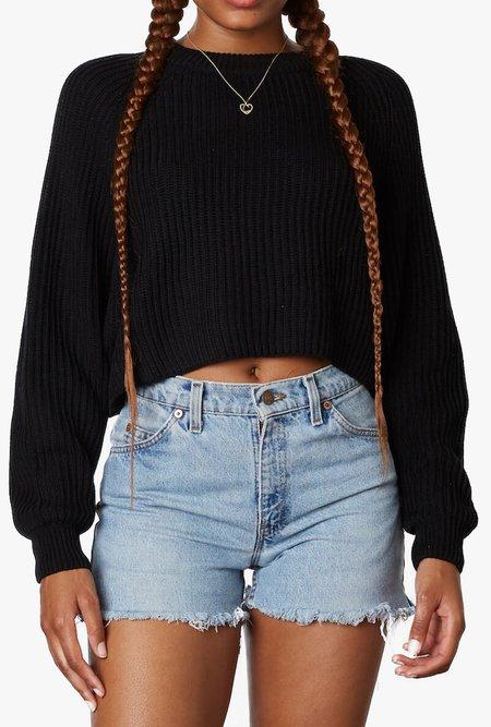 Azalea Lana Cropped Knit Sweater - black