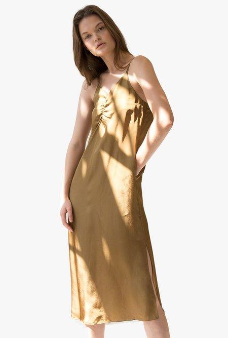 Maison De Ines Ruche Front Midi Slip Dress