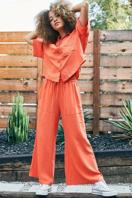 Back Beat Co. Seersucker Pajama Top - Tangerine