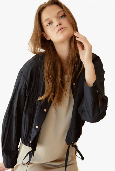 Maison De Ines Sheer Blouson Jacket - BLACK