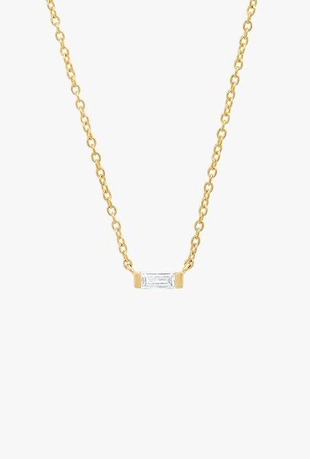 Eriness Solitaire Diamond Baguette Necklace - 14kYG