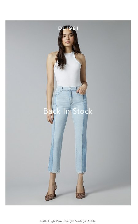 DL1961 Patti Straight High Rise Vintage Jeans - Powder Mixed