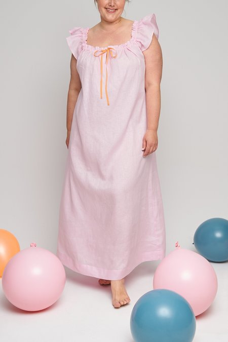 Eliza Faulkner Full Length Plus Party Nightie - Pale Pink Linen