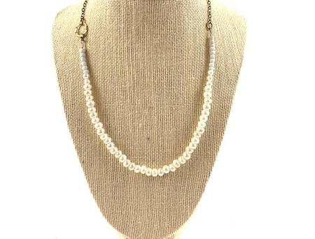 Farah Bean Smaller Freshwater Pearls and White Beads Necklace