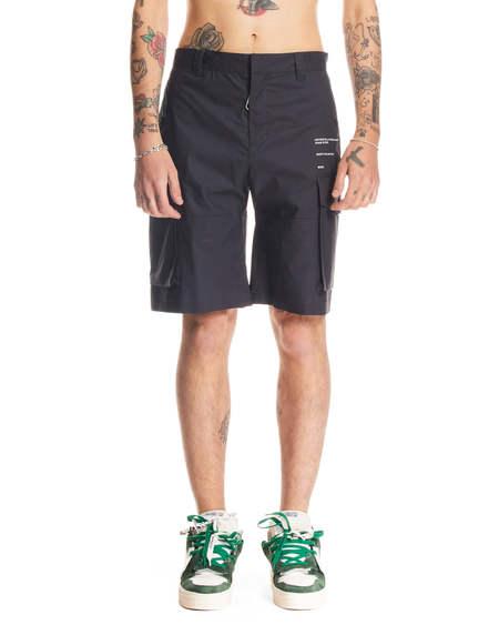 Off-White Cargo Style Shorts - dark blue