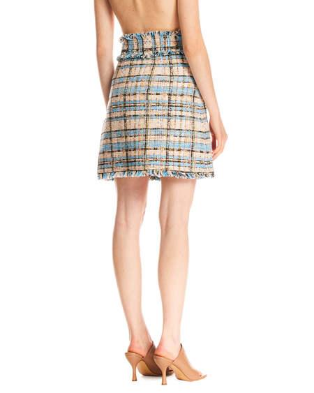 MSGM Checked Fringes Skirt - Multicolor
