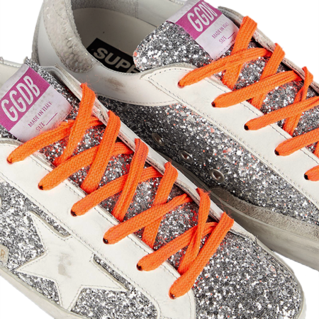 Godlen Goose Super-Star Glitter and Leather Viper Printed Sneakers - Silver/Ice