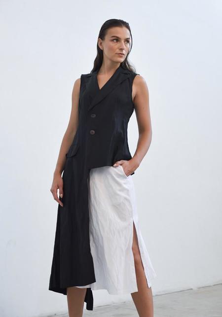 Simply Mila Long Asymmetric Uneven Vest - black