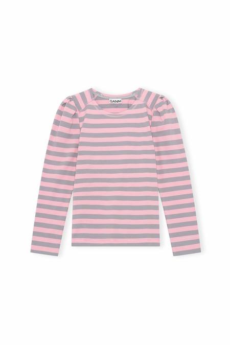 Ganni Striped Cotton Shirt - Sharkskin