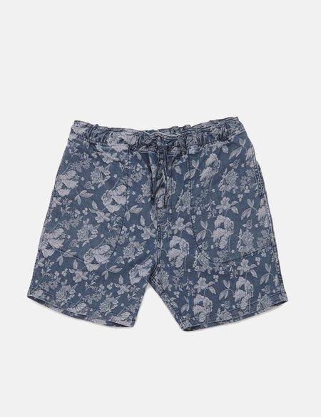 YMC Z Shorts in Floral Print - Navy Blue