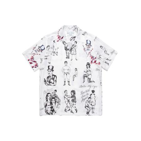 Wacko Maria Born x Raised Short Sleeve Hawaiian Shirt - White