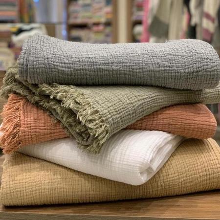 The Loomia Joy Four Layered Muslin Blanket - White