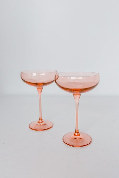 Estelle Colored Glass Coupe Glasses - Blush Pink