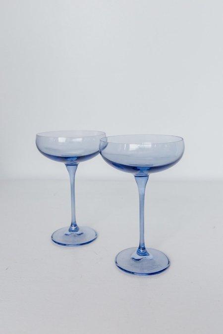 Estelle Colored Glass Coupe Glasses - Cobalt Blue