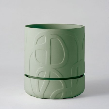 Angus & Celeste Abstract Relief Plant Pot - Brush Line Thick Olive Green