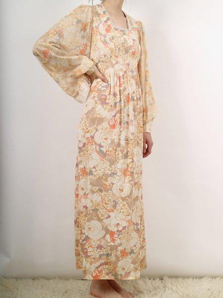Vintage autumn floral gunne sax style poly dress