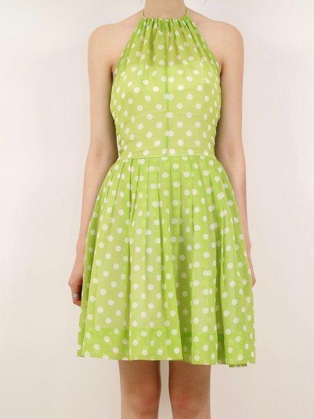 Vintage polka dot halter party dress - lime