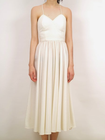 Vintage 70s disco quilted bodice wedding dress - off white