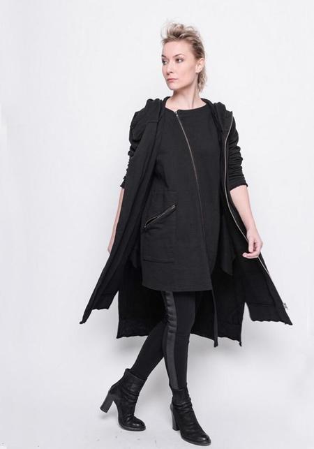 BLACK by K&M Asymmetric Zip Front Hooded Sweatshirt