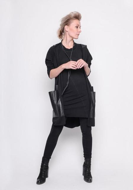 BLACK by K&M Leather Hood and Pocket Open Cardigan