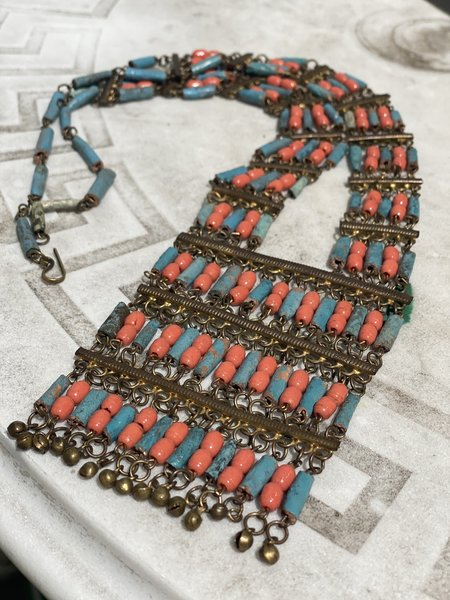 KC Vintage Egyptian Revival Coral and Faience Bead Necklace