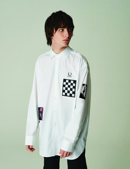 Fred Perry x Raf Simons Oversized Patched Shirt - White