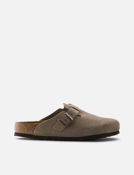 Birkenstock Boston Suede Leather Regular Soft Footbed Sandal - Beige