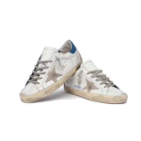 Golden Goose Super-Star Leather Upper and Heel Sneakers - Ice/Blue