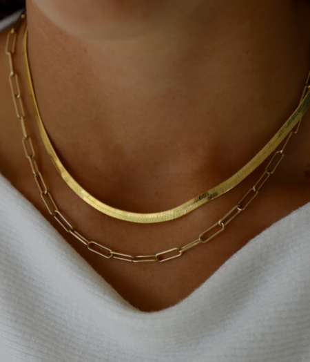 Katie Waltman Paperclip Chain Necklace - Gold