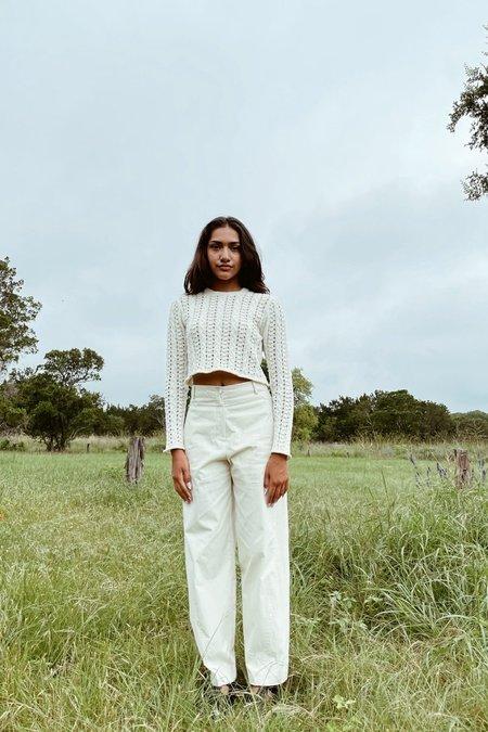 Avecnous Cropped Knit Top - white