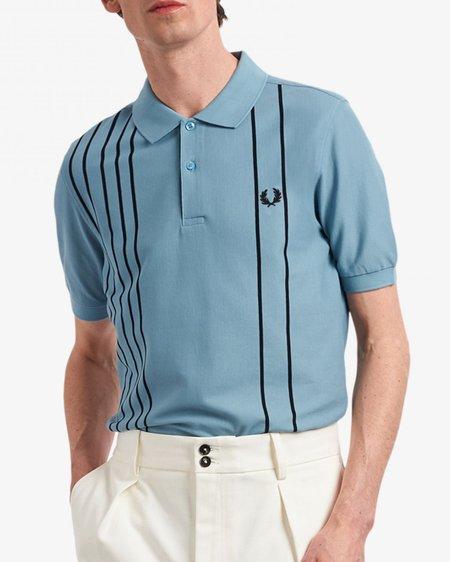 FRED PERRY Striped Polo Shirt - Smoke Blue A88