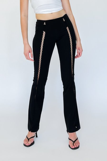 Vintage Fish Net Baby Flare Pants - black