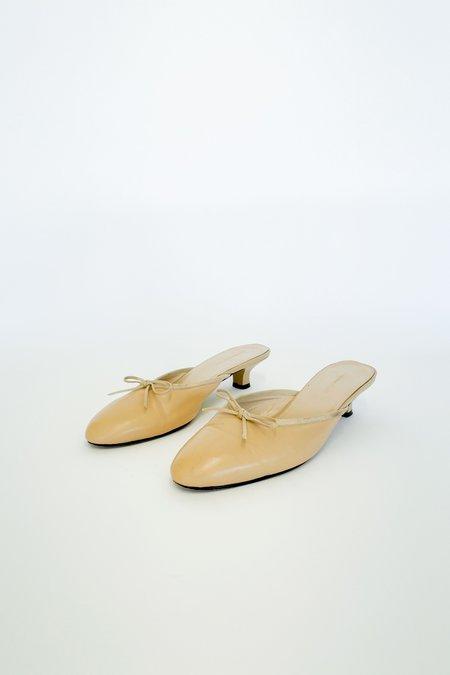 Vintage Kitten Heel Slides - camel