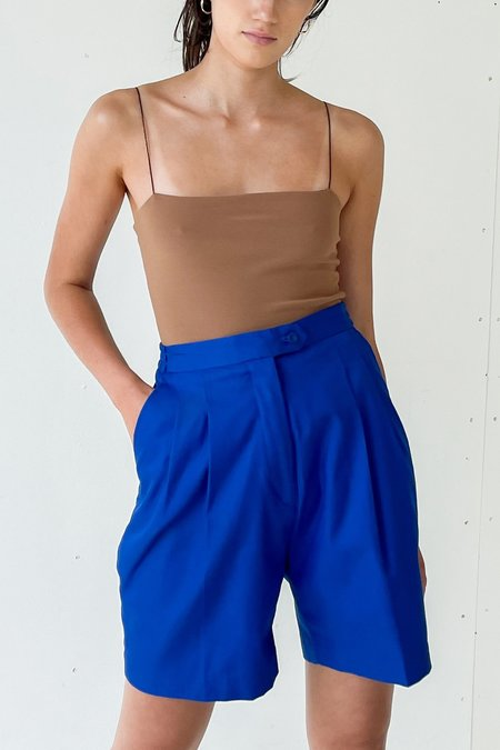 Vintage Pleated Trouser Shorts - Cobalt