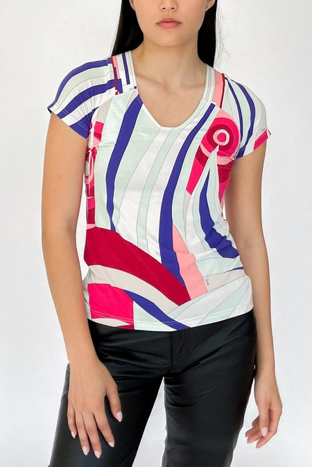 Vintage Emilio Pucci Abstract Print Top - multi