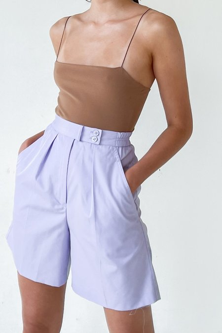 Vintage Pleated Trouser Shorts - Lilac