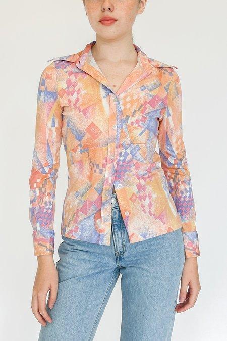 Vintage Silky Geometric Print Shirt