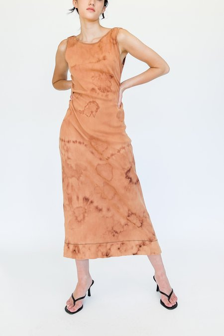 Vintage Terra Cotta Blush Tie Dyed Plush Cotton Dress
