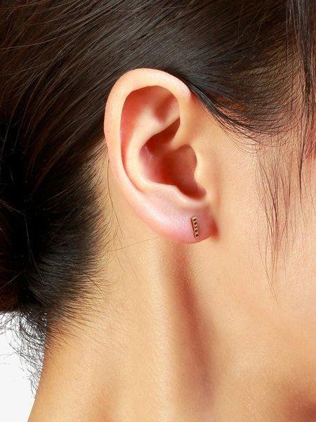 satomi kawakita black diamond bar earrings - Gold