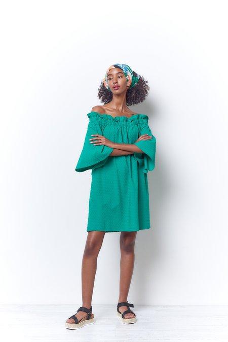 Corey Lynn Calter Mary Dress - Kelly Green Swiss Dot