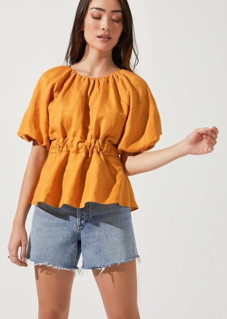 Mabel and Moss Vendetti Puff Sleeve Blouse - Ochre