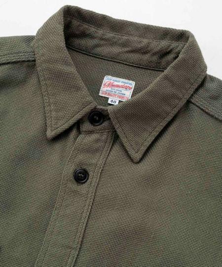Momotaro Jeans Dobby Cloth Work Shirt - Olive Drab