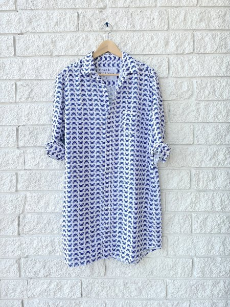 Frank & Eileen MARY WOVEN BUTTON UP DRESS - NAVY CRAB
