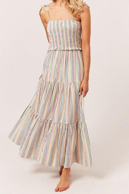 Solid and Striped Indigo Dress - Rainbow Pinstripe